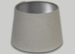 Light Beige French Drum Lampshade Brushed Silver Inner
