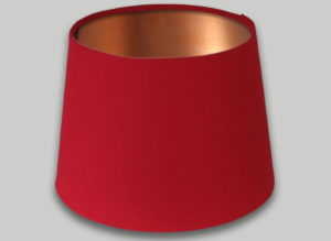 Red French Drum Lampshade Brushed Copper Inner
