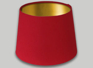 Red French Drum Lampshade Brushed Gold Inner