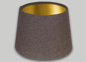 Beige Herringbone French Drum Lampshade Brushed Gold Inner