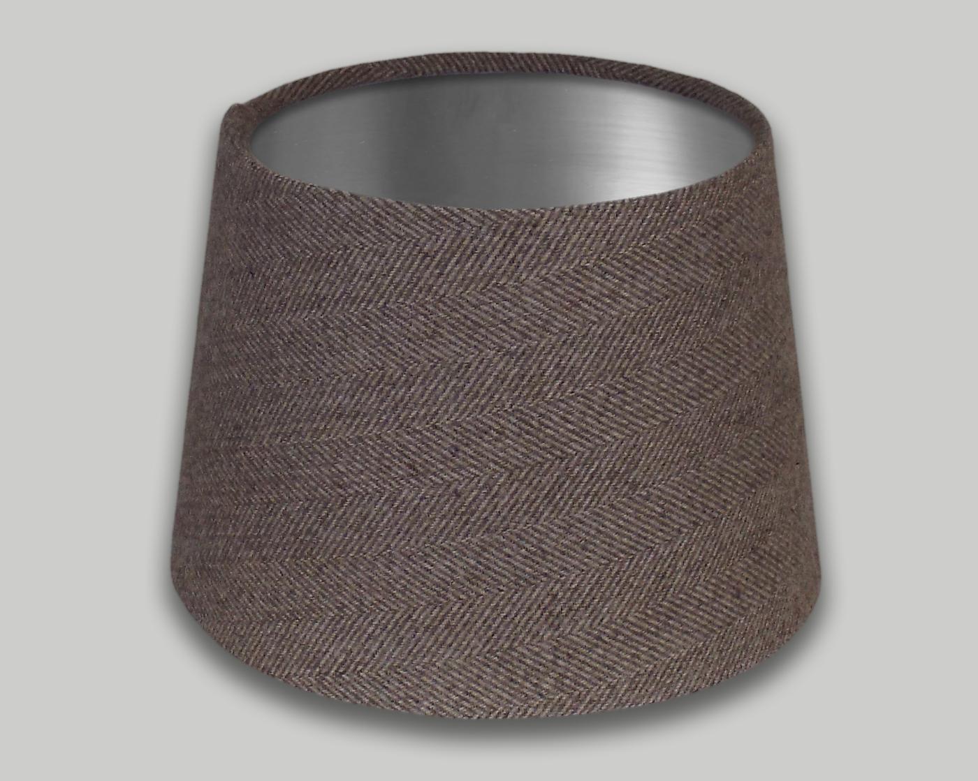 Beige Herringbone French Drum Lampshade Brushed Silver Inner