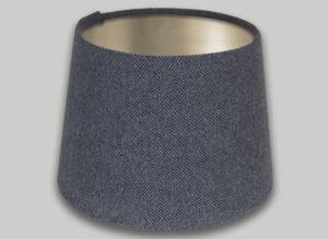 Light Grey Herringbone French Drum Lampshade Brushed Champagne Inner