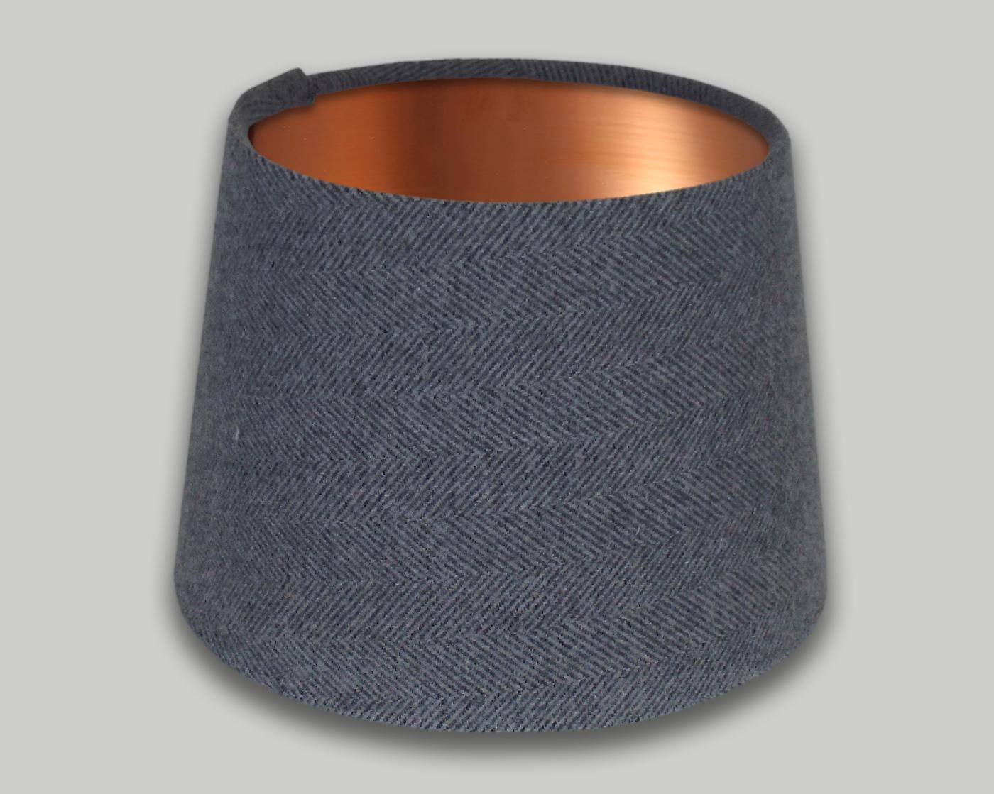 Light Grey Herringbone French Drum Lampshade Brushed Copper Inner