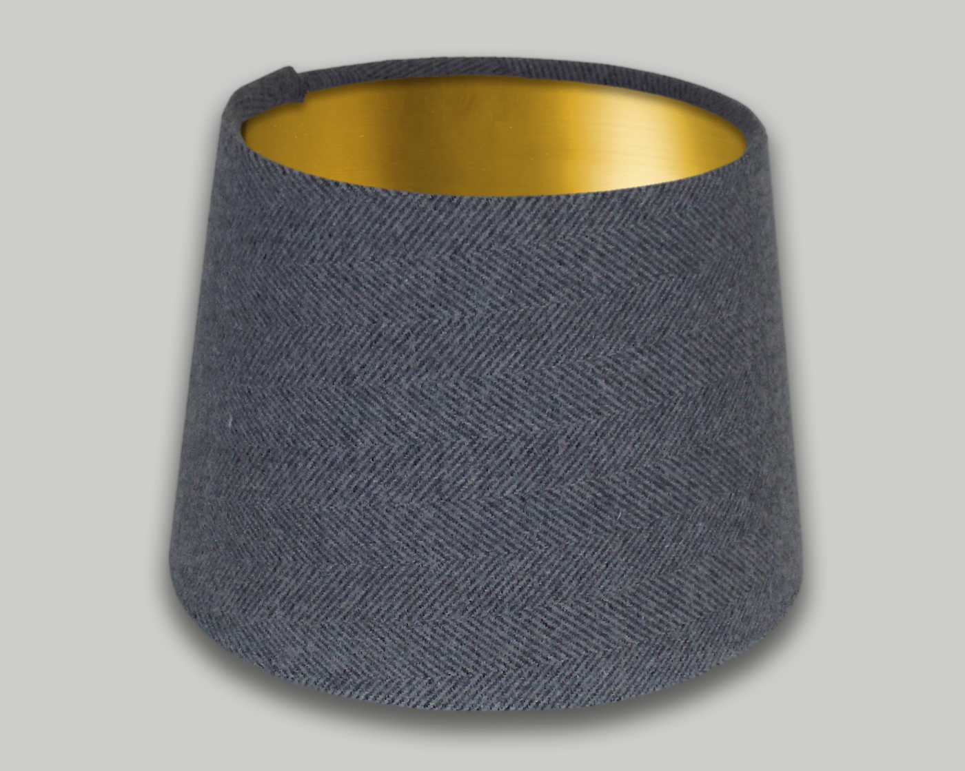 Light Grey Herringbone French Drum Lampshade Brushed Gold Inner