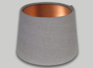Cream Beige Herringbone French Drum Lampshade Brushed Copper Inner
