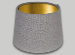Cream Beige Herringbone French Drum Lampshade Brushed Gold Inner