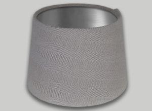Cream Beige Herringbone French Drum Lampshade Brushed Silver Inner