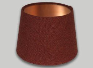 Rust Burnt Orange Herringbone French Drum Lampshade Brushed Copper Inner