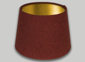 Rust Burnt Orange Herringbone French Drum Lampshade Brushed Gold Inner
