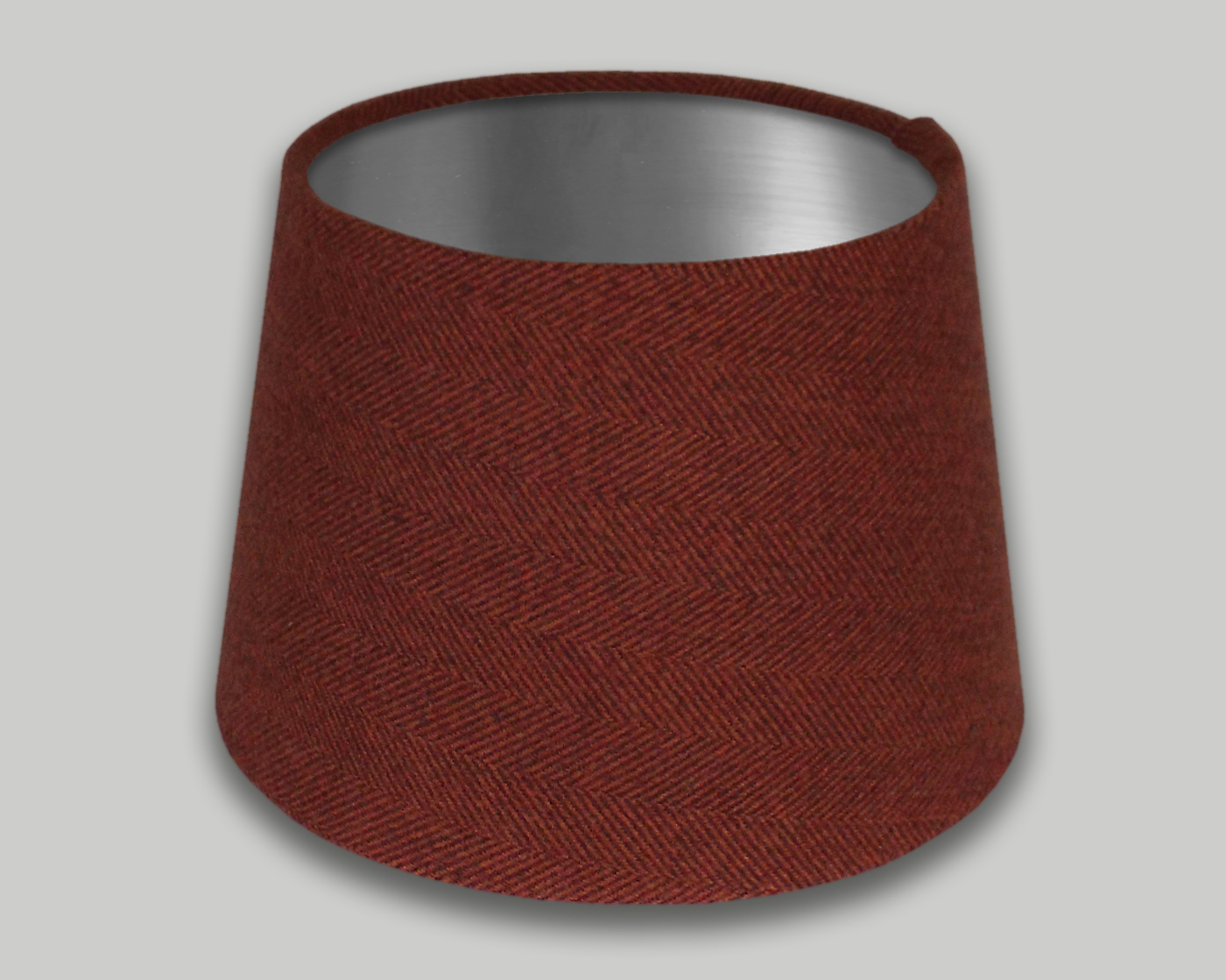 Rust Burnt Orange Herringbone French Drum Lampshade Brushed Silver Inner