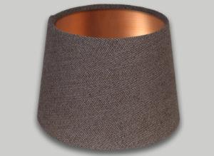 Beige Herringbone French Drum Lampshade Brushed Copper Inner