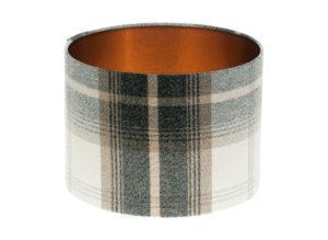 Balmoral Charcoal Tartan Drum Lampshade Brushed Copper Inner