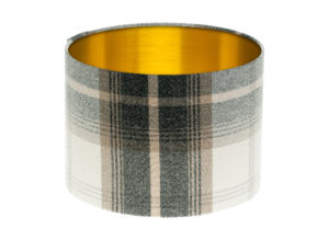 Balmoral Charcoal Tartan Drum Lampshade Gold Inner