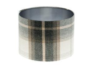 Balmoral Charcoal Tartan Drum Lampshade Brushed Silver Inner