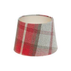 Balmoral Cherry Tartan French Drum Lampshade Champagne Inner