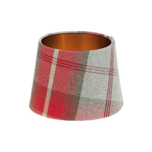 Balmoral Cherry Tartan French Drum Lampshade Brushed Copper Inner