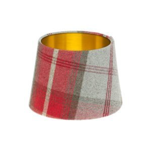 Balmoral Cherry Tartan French Drum Lampshade Brushed Gold Inner