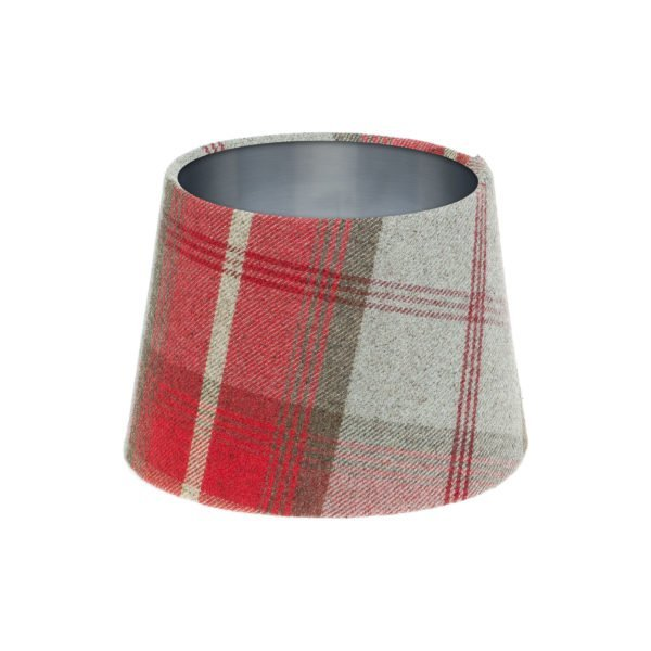 Balmoral Cherry Tartan French Drum Lampshade Brushed Silver Inner