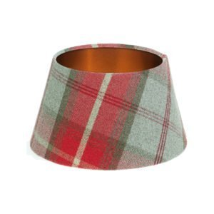 Balmoral Cherry Tartan Empire Lampshade Brushed Copper Inner