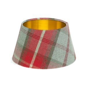 Balmoral Cherry Tartan Empire Lampshade Brushed Gold Inner