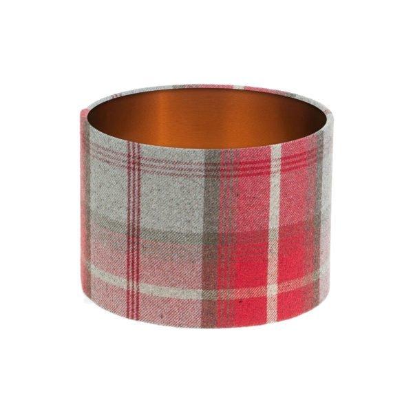 Balmoral Cherry Tartan Drum Lampshade Brushed Copper Inner