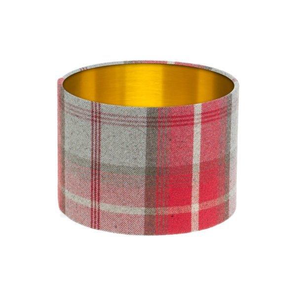Balmoral Cherry Tartan Drum Lampshade Brushed Gold Inner
