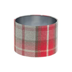 Balmoral Cherry Tartan Drum Lampshade Brushed Silver Inner