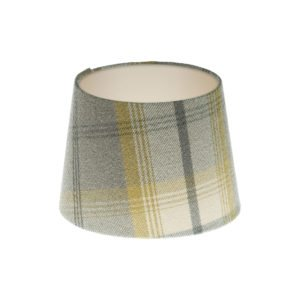 Balmoral Citrus Tartan French Drum Lampshade Champagne Inner