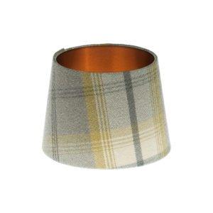 Balmoral Citrus Tartan French Drum Lampshade Brushed Copper Inner