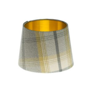 Balmoral Citrus Tartan French Drum Lampshade Brushed Gold Inner