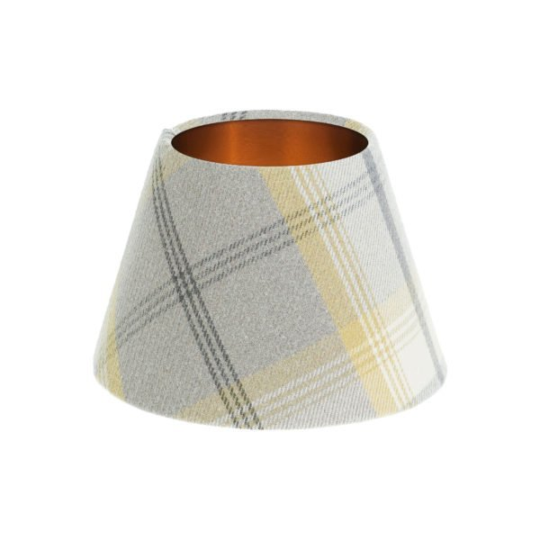 Balmoral Citrus Tartan Empire Lampshade Brushed Copper Inner