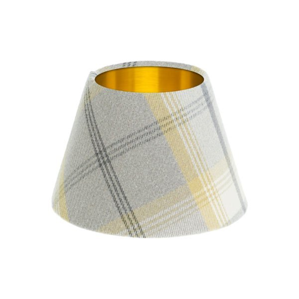Balmoral Citrus Tartan Empire Lampshade Brushed Gold Inner