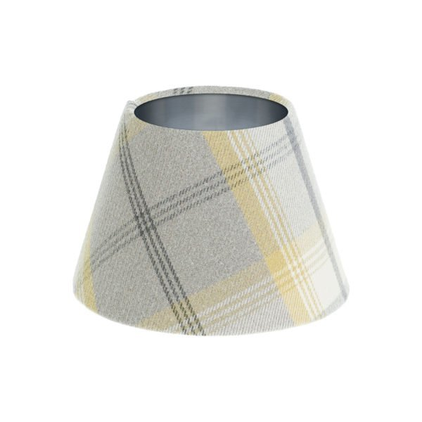 Balmoral Citrus Tartan Empire Lampshade Brushed Silver Inner