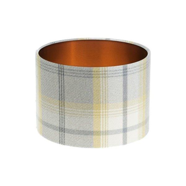 Balmoral Citrus Tartan Drum Lampshade Brushed Copper Inner