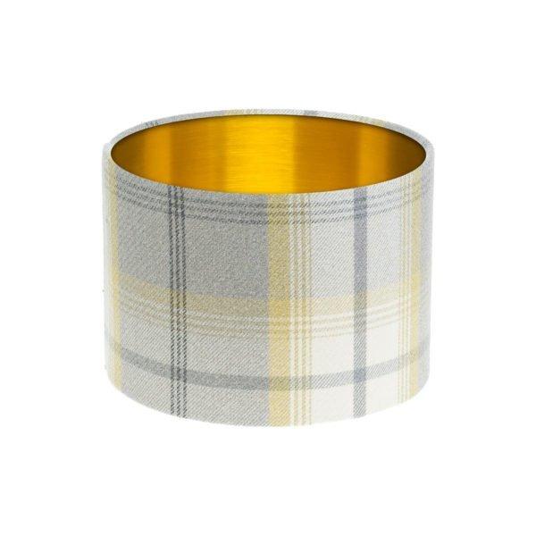 Balmoral Citrus Tartan Drum Lampshade Brushed Gold Inner