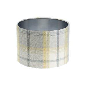 Balmoral Citrus Tartan Drum Lampshade Brushed Silver Inner