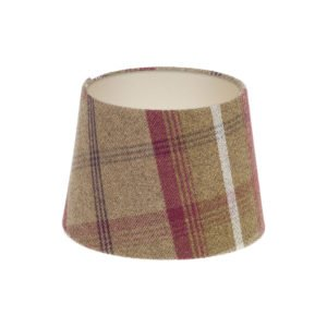 Balmoral Heather Tartan French Drum Lampshade Champagne Inner