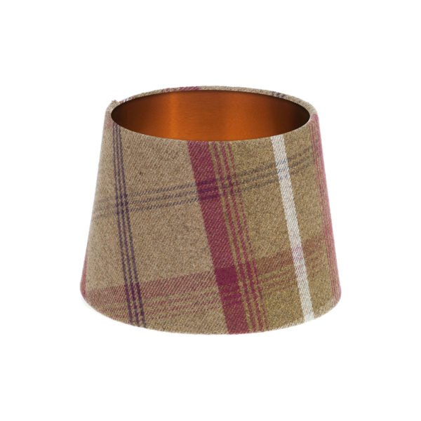 Balmoral Heather Tartan French Drum Lampshade Brushed Copper Inner
