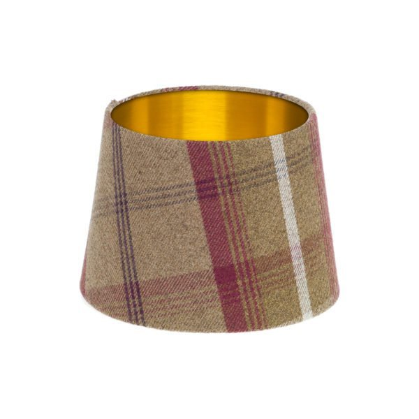 Balmoral Heather Tartan French Drum Lampshade Brushed Gold Inner