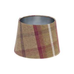 Balmoral Heather Tartan French Drum Lampshade Brushed Silver Inner