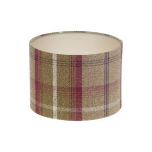 Balmoral Heather Tartan Drum Lampshade Champagne Inner