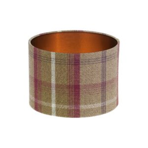 Balmoral Heather Tartan Drum Lampshade Brushed Copper Inner