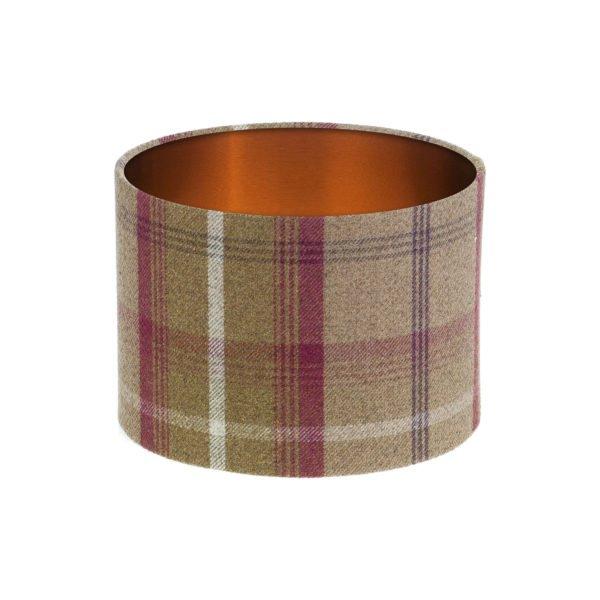 Balmoral Heather Tartan Drum Lampshade Brushed Copper Inner