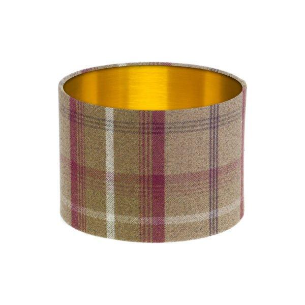 Balmoral Heather Tartan Drum Lampshade Brushed Gold Inner