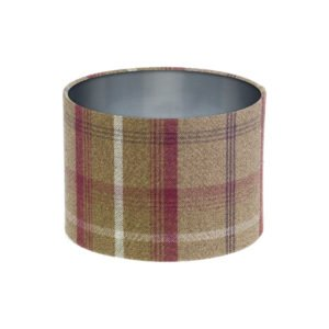Balmoral Heather Tartan Drum Lampshade Brushed Silver Inner