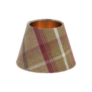 Balmoral Heather Tartan Empire Lampshade Brushed Copper Inner