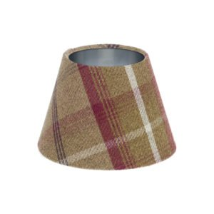 Balmoral Heather Tartan Empire Lampshade Brushed Silver Inner