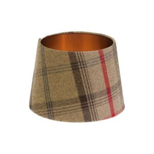 Balmoral Hunter Tartan French Drum Lampshade Brushed Copper Inner
