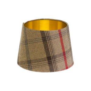Balmoral Hunter Tartan French Drum Lampshade Brushed Gold Inner