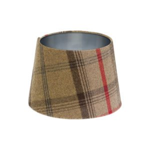 Balmoral Hunter Tartan French Drum Lampshade Brushed Silver Inner